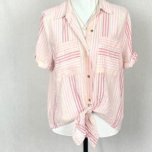 Michael Kors Bottom Tie Blouse Pink Gold White L